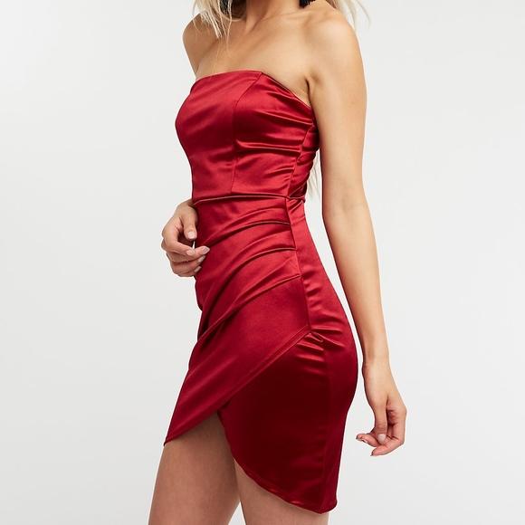 7a5f19d0489 Satin Ruched Wrap Mini Dress